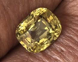 3.53ct cushion ct chrysoberyl yellowish green Sri Lanka.