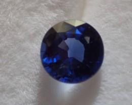 Saphir bleu rond 1.08ct certifié