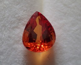 Saphir orange poire 1.63ct certifié