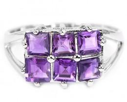 16.5ct Purple Amethyst 925 Sterling Silver Ring US 9