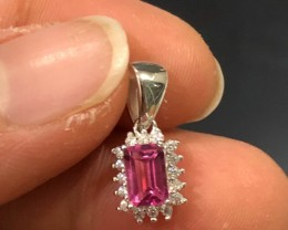 5.5ct Pink Topaz 925 Sterling Silver Pendant