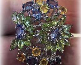 Stunning Tanzanite Sapphire Peridot Daisy .925 Sterling Silver Ring No Rese