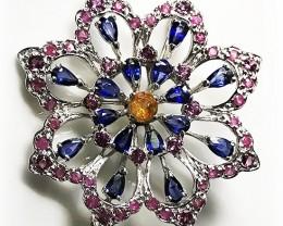 Fabulous Sapphire Citrine Garnet Ruby .925 Sterling Silver Brooch No Reserv