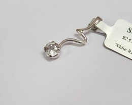 White topaz 925 Sterling silver pendant #34052