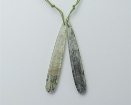 37ct Natural Water drop Green Kyanite Earring Pair(18053104)