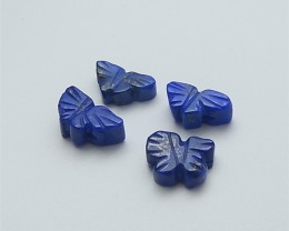 20ct 4Pcs Specialoffer Natural Lapis Lazuli Craved Butterfly Cabochon (1805