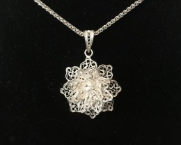Exquisite Hand Made Filigree Sterling Silver Pendant 19.55 Carats