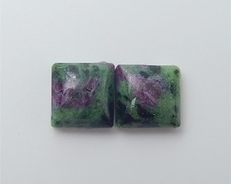 14ct Fashion Natural Ruby And Zoisite Cabochon Pair(18060103)