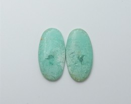 12.5ct On sale Oval Chrysocolla Cabochon Pair(18060104)