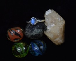 NATURAL UNTREATED RAINBOW MOOSTONE  RING 925 STERLING SILVER JE73