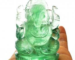 Genuine 956.50 Cts Green Fluorite Carved Ganesha Idol
