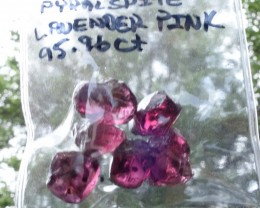 95.96 ct. Malaya / Pyralspite Garnet Rough, Parcel of 6, Lavender Pink