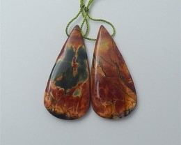 50ct Natural Water drop Multi-Color Picasso jasper Earring Pair(18060213)