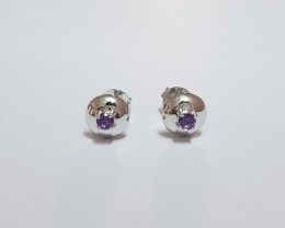 Amethyst 925 Sterling silver earrings #7765