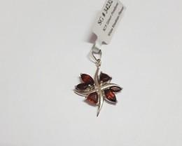 Garnet 925 Sterling silver pendant #34232