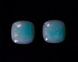 17.48 tcw. Ice Blue - Mulberry, Peruvian Opal, Matched Pair RARE!