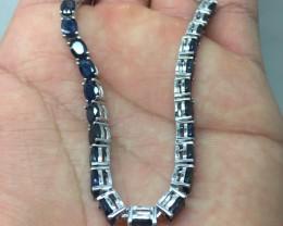 (B4) Fascinating Nat 48.2tcw Top Rich Blue Sapphire Bracelet Heated