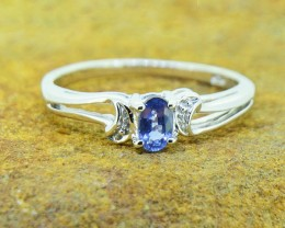 N/R Natural Violet Sapphire  925 Sterling Silver Ring Size 6 US (SSR0386)