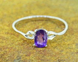 N/R Natural Amethyst 925 Sterling Silver Ring  Size 6.5 US (SSR0383)