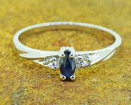 Natural Blue Sapphire Size 8 US, 925 Sterling Silver Ring (SSR0388)