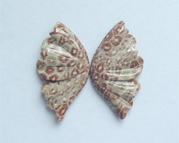 45.5ct New Design Natural Fossil Coral Craved Butterfly Cabochon Pair(18060