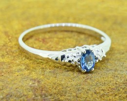 Natural Blue Sapphire Size 8 US, 925 Sterling Silver Ring (SSR0385)