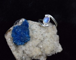 NATURAL UNTREATED RAINBOW MOONSTONE RING 925 STERLING SILVER JE78