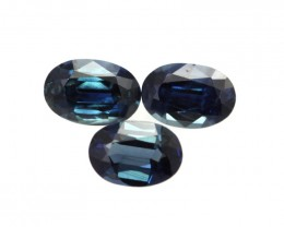 1.68cts Natural Australian Blue Sapphire 3 Matching Oval Shape