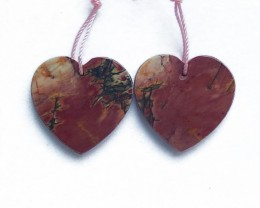 38.5ct Natural Multi-Color Picasso jasper  Heart Shape Earring Pair(1806050