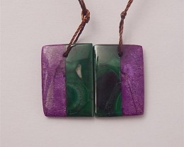 18.5ct New Design Malachite And African Purple jasper Intarsia Earring Pair