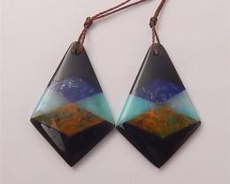 30.5ct New Design Amazonite. Green Opal .Lapis Lazuli And Obsidian Intarsia