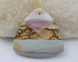 151ct New Design Natural Wave Jasper .Amazonite And Picture Jasper Pendant