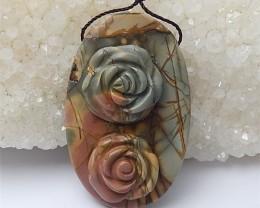 99.5ct Natural Multi-Color Picasso Jasper Craved Flower Pendant (18060535)