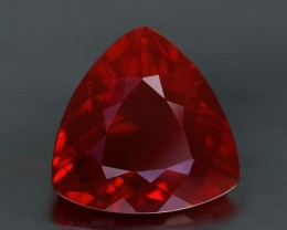 6.43 ct. Mexican Fire Opal, Extreme Blood Red, Trillion Cut