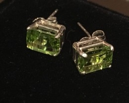 3.19 Carat VVS Peridot Sterling Silver Stud Earrings - Stunning !