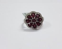 Rhodolite 925 Sterling silver ring #9754
