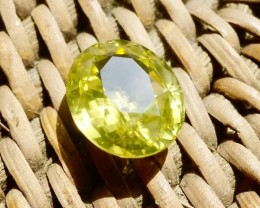 13.64 ct. Zircon, Greenish Yellow Oval Cut VS Sri Lanka