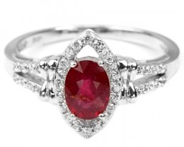 14ct Red Ruby 925 Sterling Silver Ring US 8.25