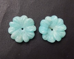 11.5ct Hot Sale Amazonite Craved Flower Earring Pair(18060711)