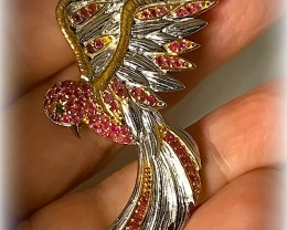 Bird of Life - 14kt Gold over Sterling Silver Brooch Ruby No Reserve