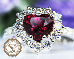 Unheated 1.11ct Ruby and Diamond Ring 18k White Gold