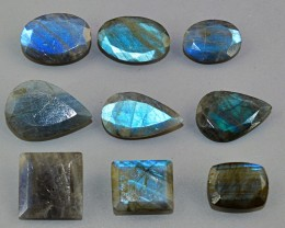 Genuine 144.50 Cts Blue Flash Labradorite Faceted Gem Lot
