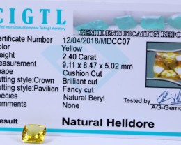 Certified|CIGTL|  2.40 Cts Museum Grade |Yellow Heliodor Gems