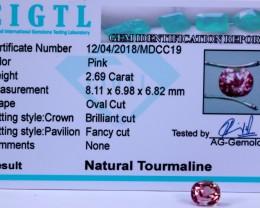 Certified|CIGTL| 2.69 Cts Museum Grade | Pink  Tourmaline Gems