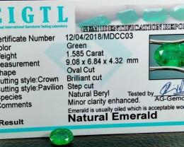 Certified CIGTL~1.585 Cts Museum Grade Green color Emerald Gems
