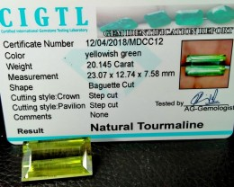 Certified|CIGTL~20.145 Cts Museum Grade Green color Tourmaline Gem