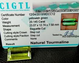 Certified|CIGTL~20.145 Cts Museum Grade Green color Tourmaline Gem