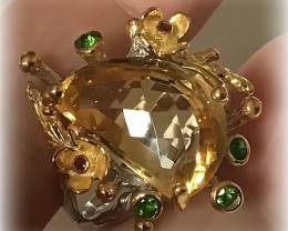 A Citrine Emerald Ruby 14ct Gold over .925 Sterling Silver Size 9.5