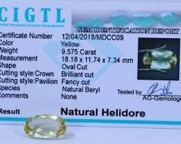 Certified|CIGTL| 9.575 Cts Museum Grade |Yellow Heliodor Gems