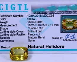 Certified|CIGTL|16.03 Cts Museum Grade |Yellow Heliodor Gems